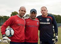 Tim Howard, Zak Abdelbaset and Brad Guzan. U.S. Men's National Team training at RFK Stadium  Monday October 12, 2009  in Washington, D.C.