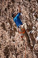 'Armagedon' 7c+, Des Plomelandia sector,<br /> Las Chilcas, Chile<br /> Climber: Carlos Lastra