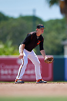 GCL Orioles shortstop Gunnar Henderson (9) during a Gulf Coast League game against the GCL Red Sox on July 29, 2019 at Ed Smith Stadium in Sarasota, Florida.  GCL Red Sox defeated the GCL Pirates 9-1.  (Mike Janes/Four Seam Images)