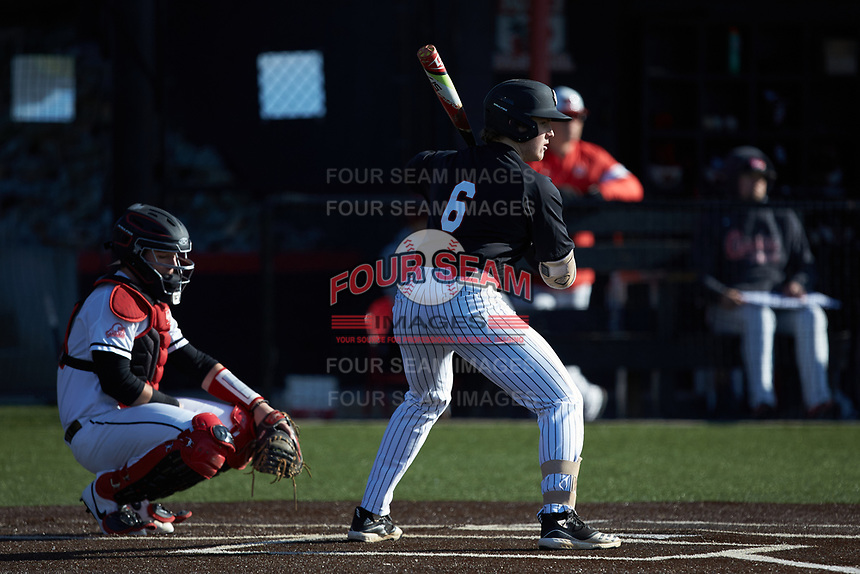 Matt Higgins (6) of the Bellarmine Knights at bat against the North Greenville Crusaders at Ashmore Park on February 7, 2020 in Tigerville, South Carolina. The Crusaders defeated the Knights 10-2. (Brian Westerholt/Four Seam Images)
