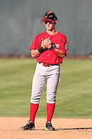 Spokane Indians infielder Nick Vickerson #18 before a game against the Salem-Keizer Volcanoes at Volcanoes Stadium on August 10, 2011 in Salem-Keizer,Oregon. Salem-Keizer defeated Spokane 7-6.(Larry Goren/Four Seam Images)