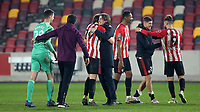 Brentford Manager, Thomas Frank celebrates their victory at the final whistle with Mads Bech Sorensen during Brentford vs Newcastle United, Carabao Cup Football at the Brentford Community Stadium on 22nd December 2020