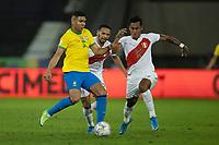 5th July 2021; Nilton Santos Stadium, Rio de Janeiro, Brazil; Copa America, Brazil versus Peru; Casemiro of Brazil challenged by Alexander Callens, Renato Tapia of Peru