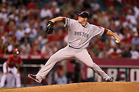 Jon Lester #31of the Boston Red Sox pitches against the Los Angeles Angels at Angel Stadium on August 30, 2012 in Anaheim, California. Los Angeles defeated Boston 5-2. (Larry Goren/Four Seam Images)