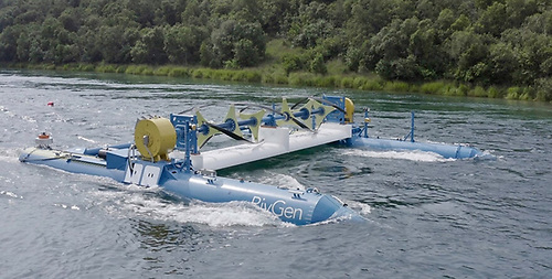 The ORPC RivGen® Power System floating on the Kvichak River in Igiugig, Alaska ahead of installation in August 2019. A second turbine system for this generator is now also being built by EireComposites in Galway, supported by SEAI.