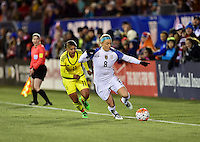 East Hartford, Conn. - April 6, 2016: The U.S. Women's National team go up 3-0 over Colombia during first half play in an international friendly match at Pratt & Whitney Stadium.