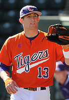 Infielder Brad Miller (13) of the Clemson Tigers in a game against the Michigan State Spartans Saturday, Feb. 20, 2010, at Fluor Field at the West End in Greenville, S.C. Miller is ranked No. 29 on Baseball America's list of top college sophomore prospects. Photo by: Tom Priddy/Four Seam Images