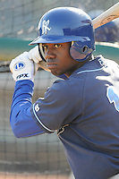 April 10, 2009: Derrick Robinson of the Wilmington Blue Rocks, Class A affiliate of the Kansas City Royals, prior to a game against the Myrtle Beach Pelicans at BB&T Coastal Field in Myrtle Beach, S.C. Photo by:  Tom Priddy/Four Seam Images