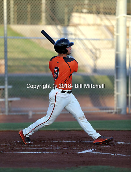 Joey Bart plays in his first professional game for the AZL Giants against the AZL Athletics at Indian Bend Park and June 24, 2018 in Scottsdale, Arizona (Bill Mitchell)
