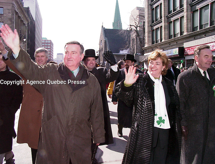 Montreal (Qc) CANADA - 1999 File Photo - Pierre Bourque, Mayor of Montreal (L) and Sheila Copps (R) take part in Montreal's Saint-Patrick Day Parade