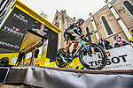 Amund Grondahl Jansen (NOR) Team BikeExchange first man off the start ramp of Stage 5 of the 2021 Tour de France, an individual time trial running 27.2km from Change to Laval, France. 30th June 2021.  <br /> Picture: A.S.O./Charly Lopez | Cyclefile<br /> <br /> All photos usage must carry mandatory copyright credit (© Cyclefile | A.S.O./Charly Lopez)