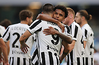 Alvaro Morata of Juventus FC celebrates with team mates after scoring the goal 0-1 during the Serie A 2021/2022 football match between SSC Napoli and Juventus FC at Diego Armando Maradona stadium in Napoli (Italy), September 11th, 2021. <br /> Photo Cesare Purini / Insidefoto