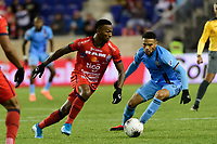 HARRISON, NJ - FEBRUARY 26: Omar Browne #99 of AD San Carlos during a game between AD San Carlos and NYCFC at Red Bull on February 26, 2020 in Harrison, New Jersey.