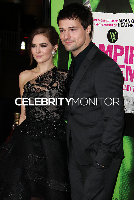 """LOS ANGELES, CA - FEBRUARY 04: Zoey Deutch, Danila Kozlovsky at the Los Angeles Premiere Of The Weinstein Company's """"Vampire Academy"""" held at Regal Cinemas L.A. Live on February 4, 2014 in Los Angeles, California. (Photo by Xavier Collin/Celebrity Monitor)"""