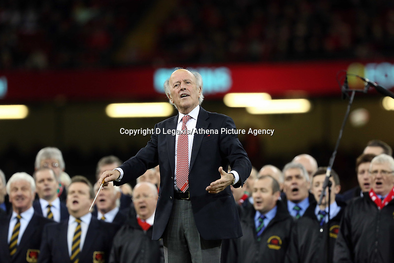 Pictured: The conductor of the welsh choir Saturday 22 November 2014<br /> Re: Dove Men Series 2014 rugby, Wales v New Zealand at the Millennium Stadium, Cardiff, south Wales, UK.