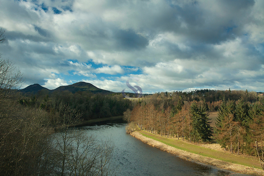 The Eildon Hills and the River Tweed from Newton St Boswells, Scottish Borders