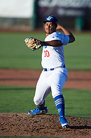 Ogden Raptors starting pitcher Joel Inoa (30) delivers a pitch to the plate against the Orem Owlz at Lindquist Field on June 19, 2018 in Ogden, Utah. The Raptors defeated the Owlz 7-2. (Stephen Smith/Four Seam Images)