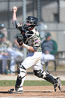 Slippery Rock catcher Alex Bell (14) during a game against Upper Iowa University at Frank Tack Field on March 14, 2014 in Clearwater, Florida.  Slippery Rock defeated Upper Iowa 14-9.  (Mike Janes/Four Seam Images)