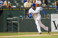 Round Rock second baseman Jurickson Profar (10) sprints home in the Pacific Coast League baseball game against the Nashville Sounds on May 4, 2013 at the Dell Diamond in Round Rock, Texas. Round Rock defeated Nashville -6. (Andrew Woolley/Four Seam Images).
