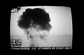 Chicago, Illinois.USA.April 4, 2003..TV images of the US bombing of Baghdad..
