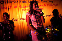 The 'Me N Ma Girls', Myanmar's first girl band, perform on stage at a private function in a hotel in Yangon. The band's members were recruited by Australian dancer Nicole May. They sing and dance in the manner of many Western pop acts but in socially conservative Myanmar, they represent a radical break from the norm.