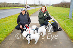Claudia Bordillo (left) and Aileen Miller with their dogs walking on the Bracker O'Regan road on Saturday morning.