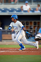 Dunedin Blue Jays left fielder Rodrigo Orozco (3) during a game against the Charlotte Stone Crabs on June 5, 2018 at Charlotte Sports Park in Port Charlotte, Florida.  Dunedin defeated Charlotte 9-5.  (Mike Janes/Four Seam Images)