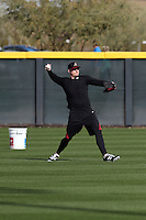 Mark Trumbo of the Arizona Diamondbacks participates in the first day of spring training workouts at Salt River Fields on February 7, 2014 in Scottsdale, Arizona (Bill Mitchell)