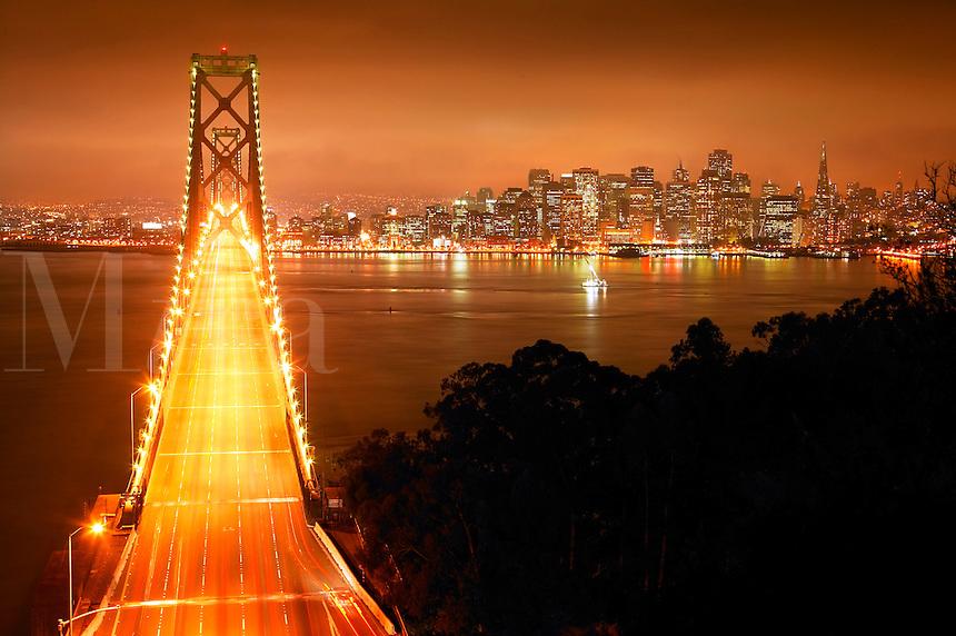 The Bay Bridge and the city of San Francisco from Yerba Buena Island, California.