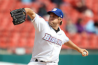 Buffalo Bisons pitcher Garrett Olson #47 delivers a pitch during a game against the Lehigh Valley IronPigs at Coca-Cola Field on April 19, 2012 in Buffalo, New York.  Lehigh Valley defeated Buffalo 8-4.  (Mike Janes/Four Seam Images)