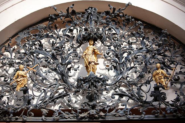 Baroque lattice wraught iron work  work of Henrik Fazola (1730-99), County Hall, , Eger, Hungary