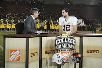 LOS ANGELES, CA - October 29, 2011:  Andrew Luck discusses  Stanford's Pac-12 game victory over the USC Trojans on ESPN College Gameday.  Stanford won in triple overtime, 56 -48, and extended its winning streak to 16 games.