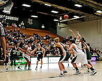 5 December 2009: University of Vermont Catamount forward/center Lauren Buschmann (32), a Freshman from St. Catharines, Ontario, throws a foul shot against the Manhattan College Jaspers at Patrick Gymnasium in Burlington, Vermont. The Catamounts defeated the visiting Jaspers 78-59 to mark the Lady Cats' second home win of the season. Mandatory Credit: Ed Wolfstein Photo