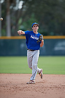 Matthew Walker (23), from Jefferson, Maryland, while playing for the Dodgers during the Baseball Factory Pirate City Christmas Camp & Tournament on December 29, 2017 at Pirate City in Bradenton, Florida.  (Mike Janes/Four Seam Images)