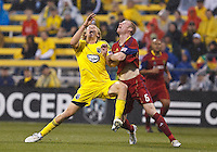 24 APRIL 2010:  Real Salt Lakes' Nat Borchers (6) and Steven Lenhart of the Columbus Crew (32) during the Real Salt Lake at Columbus Crew MLS soccer game in Columbus, Ohio. Columbus Crew defeated RSL 1-0 on April 24, 2010.