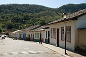 Goias Velho, Brazil. Well preserved colonial town; small houses painted in pastel colours.