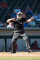 Home plate umpire Bryan Fields calls a batter out on strikes during an Arizona Fall League game between the Surprise Saguaros and the Mesa Solar Sox at Sloan Park on November 1, 2018 in Mesa, Arizona. Surprise defeated Mesa 5-4 . (Zachary Lucy/Four Seam Images)