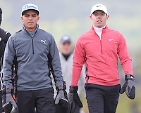 Thursday 28 May 2015; Rickie Fowler, USA and Rory McIlroy, Northern Ireland walk down the 2nd fairway<br /> <br /> Dubai Duty Free Irish Open Golf Championship 2015, Round 1 County Down Golf Club, Co. Down. Picture credit: John Dickson / SPORTSFILE