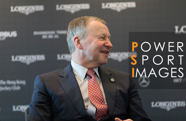 Winfried Engelbrecht-Bresges, JP, CEO of The Hong Kong Jockey Club, speaks  at Longines Hong Kong Masters official press conference at the Happy Valley Racetrack on February 02, 2016 in Hong Kong.  Photo by Victor Fraile / Power Sport Images