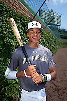 Delvin Perez (1) of International Baseball Academy in Loiza, Puerto Rico poses for a photo before the Under Armour All-American Game on August 15, 2015 at Wrigley Field in Chicago, Illinois. (Mike Janes/Four Seam Images)