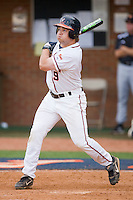 David Coleman #9 of the Virginia Cavaliers follows through on his swing against the VCU Rams at the Charlottesville Regional of the 2010 College World Series at Davenport Field on June 4, 2010, in Charlottesville, Virginia.  The Cavaliers defeated the Rams 14-5.  Photo by Brian Westerholt / Four Seam Images