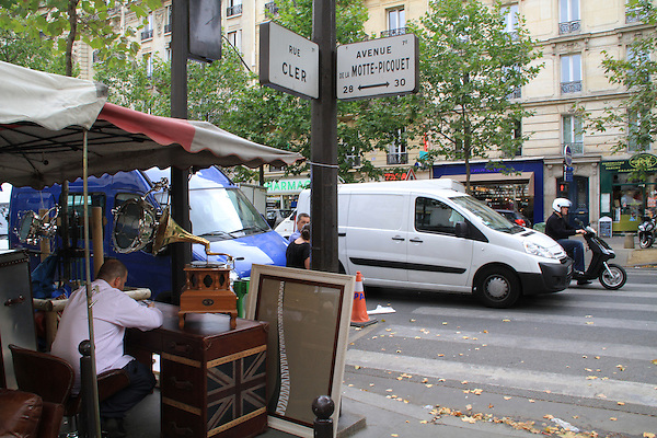 Corner of Rue Cler and Avenue de la Motte-Picquet in Paris, France.