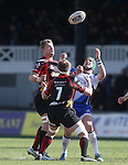 Dragons back row pair Lewis Evans and Nic Cudd compete with Connacht centre David McSharry for the high ball.<br /> RaboPro 12<br /> Newport Gwent Dragons v Connacht<br /> Rodney Parade<br /> 23.03.14<br /> <br /> ©Steve Pope-SPORTINGWALES