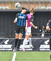 Frieke Temmerman (17 Brugge) pictured in a duel with Aalst's Margaux Van Ackere during a female soccer game between Club Brugge Dames YLA and Eendracht Aalst Ladies on the 9 th matchday of the 2020 - 2021 season of Belgian Scooore Womens Super League , saturday 12 December 2020  in Brugge , Belgium . PHOTO SPORTPIX.BE | SPP | DAVID CATRY