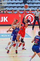 Tayra Melendez (1) of Puerto Rico , Sonja Vasic (5) of Serbia pictured during a basketball game between the national teams of Puerto Rico and Serbia on Sunday 30 th of May 2021 in Kortrijk , Belgium . PHOTO SPORTPIX.BE   SPP   STIJN AUDOOREN