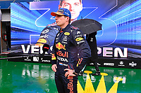 28h August 2021; Spa Francorchamps, Stavelot, Belgium: FIA F1 Grand Prix of Belgium, qualifying sessions;  33 Max Verstappen NED, Red Bull Racing speaks to press after winning pole