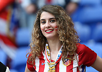 16th May 2018, Stade de Lyon, Lyon, France; Europa League football final, Marseille versus Atletico Madrid; Atletico Madrid fan smiling inside Groupama Stadium
