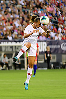 PHILADELPHIA, PA - AUGUST 29: Tatiana Pinto #11 of Portugal heads the ball during a game between Portugal and USWNT at Lincoln Financial Field on August 29, 2019 in Philadelphia, PA.