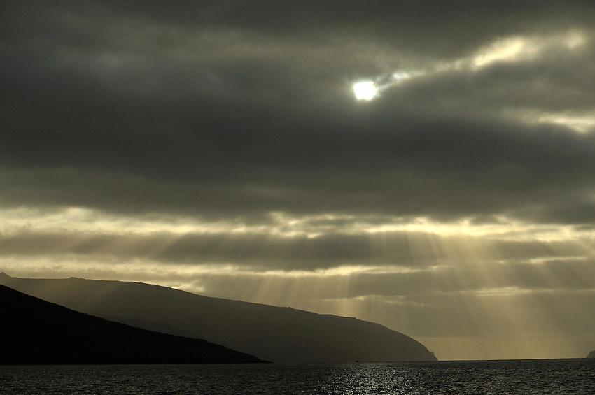 Rays over Carnley Harbor, Auckland Island