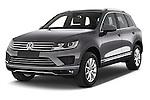 2015 Volkswagen Touareg Bluemotion 5 Door SUV Angular Front stock photos of front three quarter view